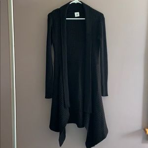Cabi Black Waterfall Duster Open Front Sweater